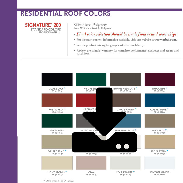 Mbci residential color chart steve lanning construction inc